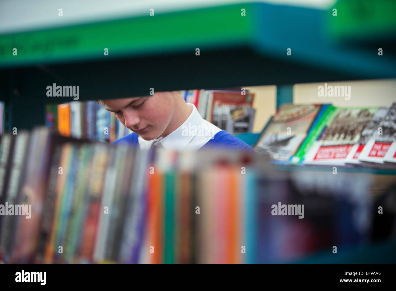 Student in library seen through book shelves - Stock Image
