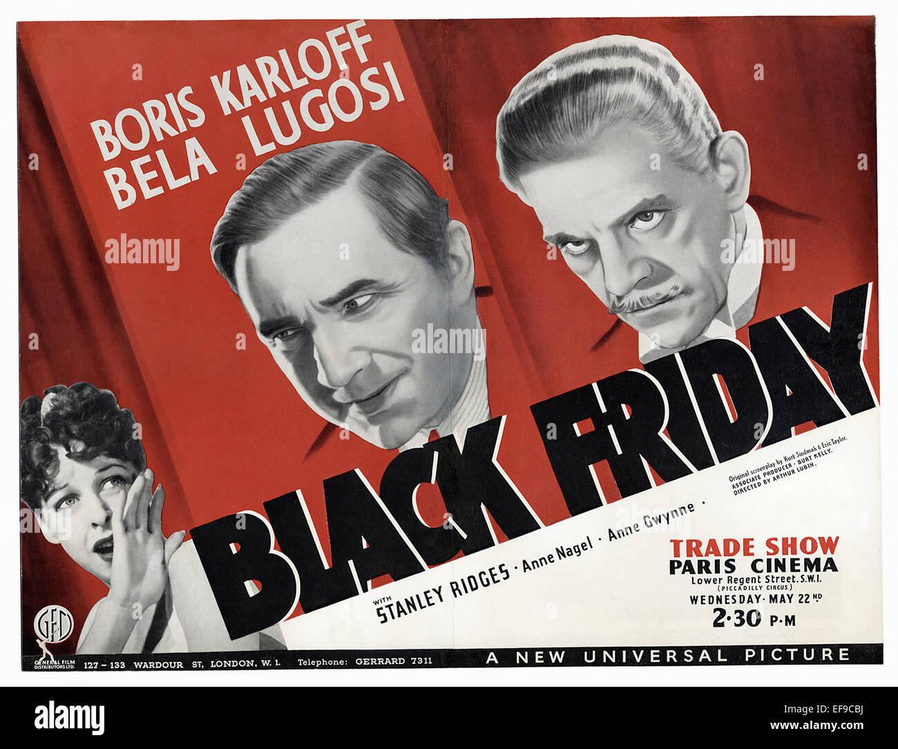 The Black Friday 1940 Movie Poster Stock Photo Alamy