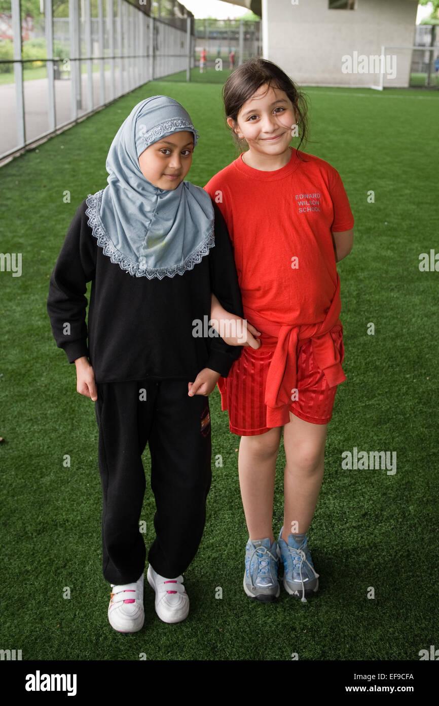 Primary School Girls In Their School Sports Kit London Uk Stock