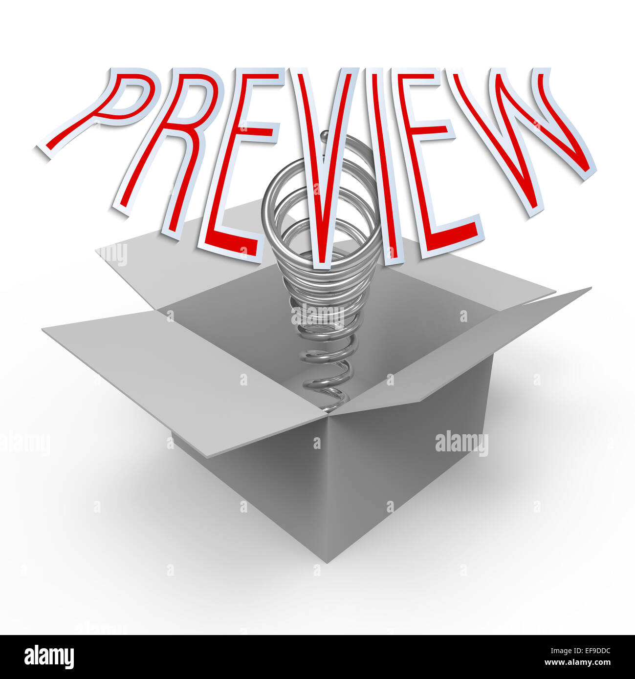 3d cardboard box with pop-up caption 'Preview'.  Concept of quick lookup, pre-premiere showing, think outside - Stock Image