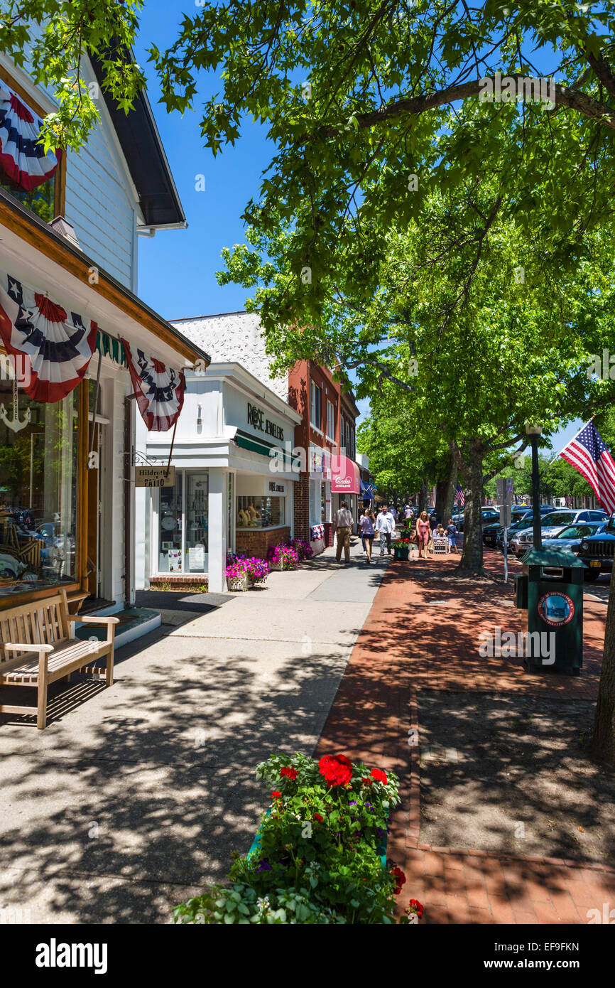Main Street in the village of Southampton, Suffolk County, Long Island , NY, USA Stock Photo
