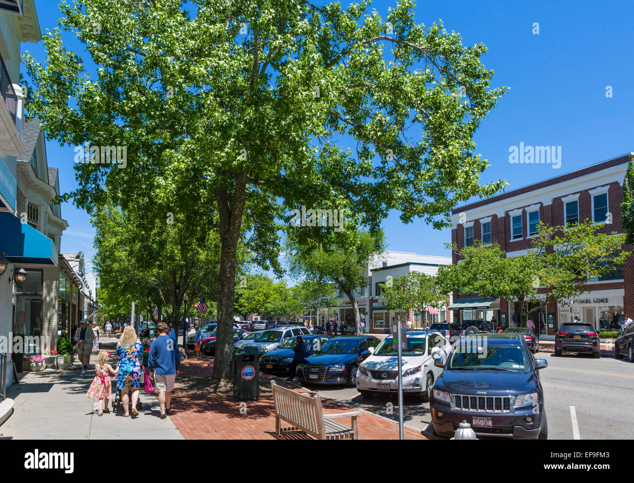 Main Street in the village of Southampton, Suffolk County, Long Island , NY, USA - Stock Image