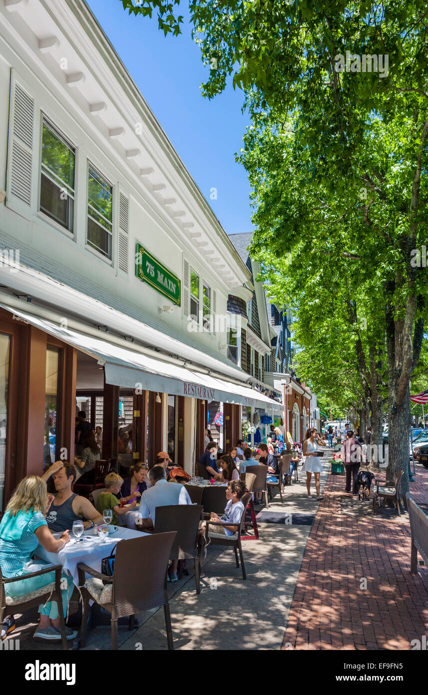 Restaurant on Main Street in the village of Southampton, The Hamptons, Suffolk County,  Long Island , NY, USA - Stock Image