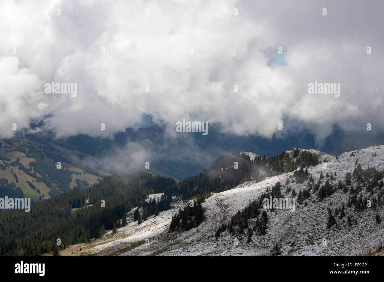 Cloud and snow The Maurerkogel and The Schmittenhohe above Zell am See Pinzgau Salzbergerland Austria Stock Photo