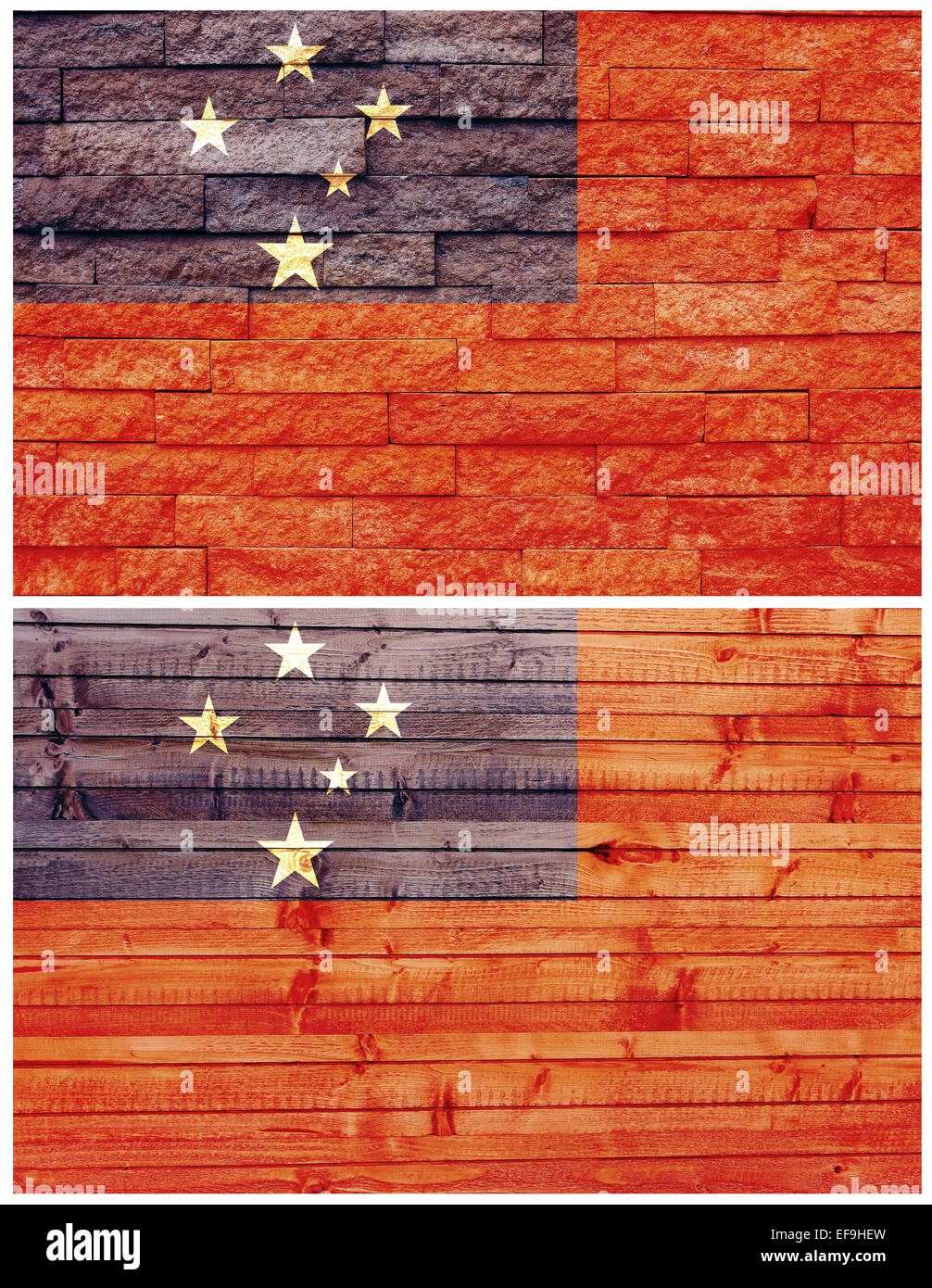 Vintage wall flag of Samoa - Stock Image