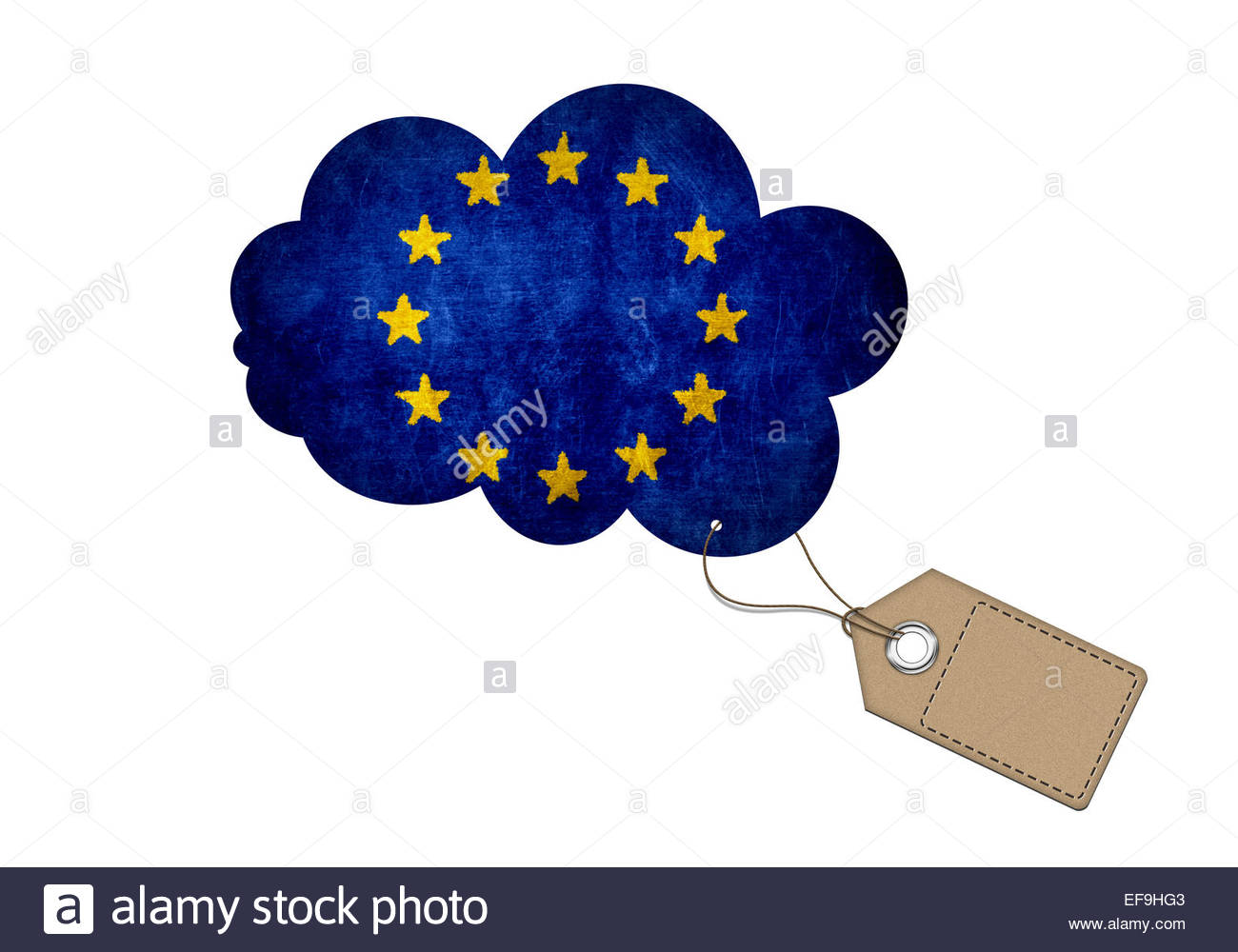 European Union flag price tag sale - Stock Image