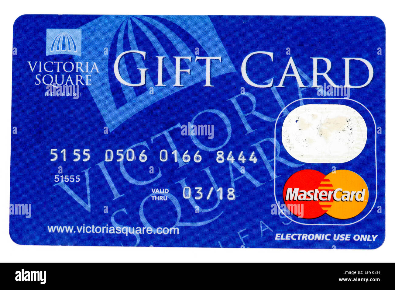 Mastercard giftcard from Victoria Square shopping centre, Belfast (number has been changed and is invalid) - Stock Image