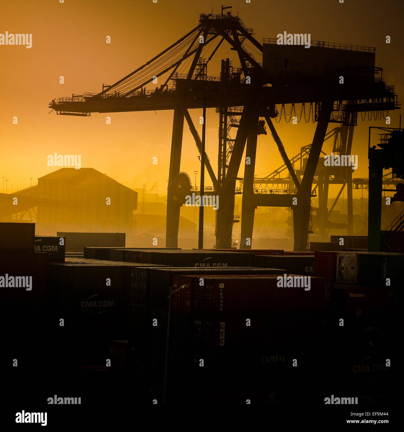 Orange tinted view of Casablanca dockyard,square format - Stock Image