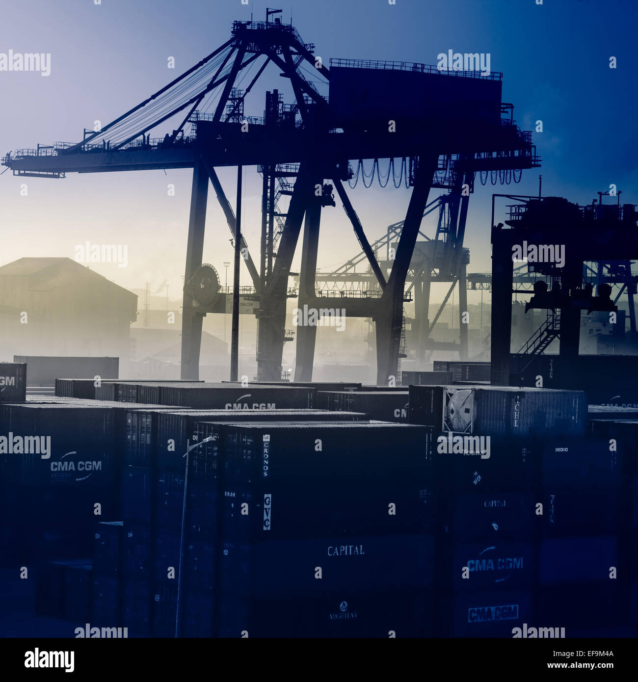 Blue tinted view of Casablanca dockyard - Stock Image
