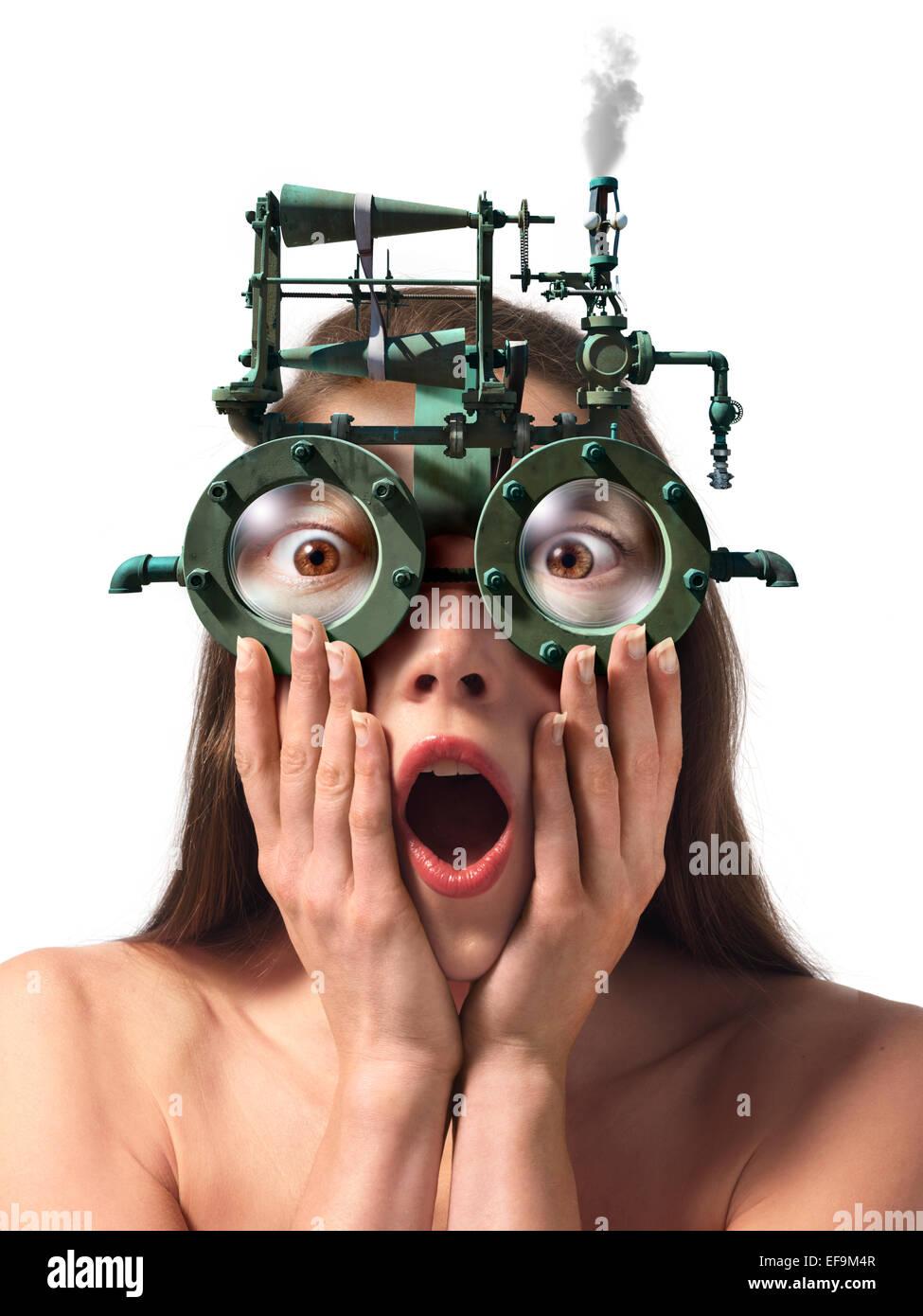 Fantasy image of woman wearing steam powered eyeglasses - Stock Image