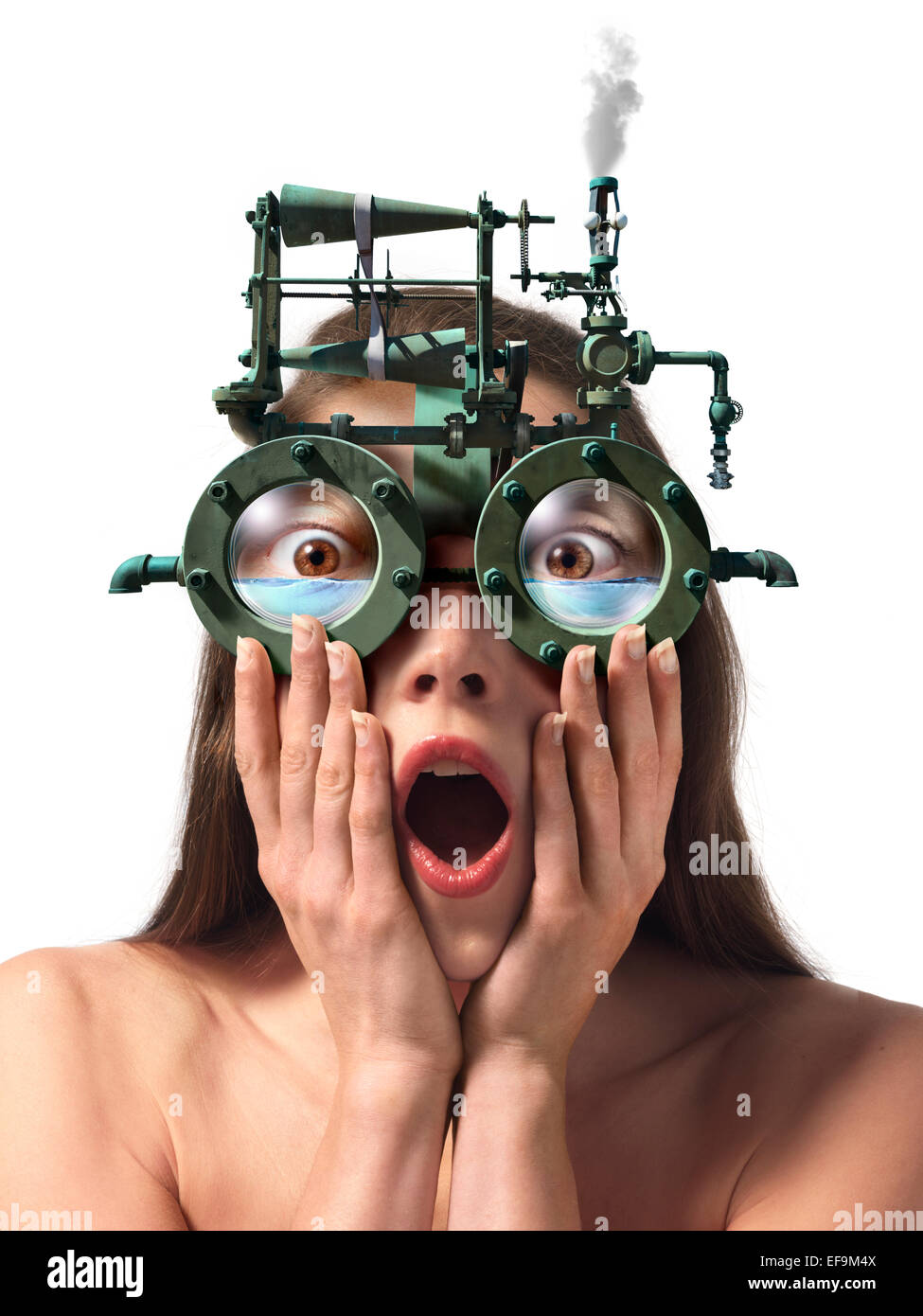 Fantasy image of woman wearing steam powered eyeglasses that are filling up with water - Stock Image