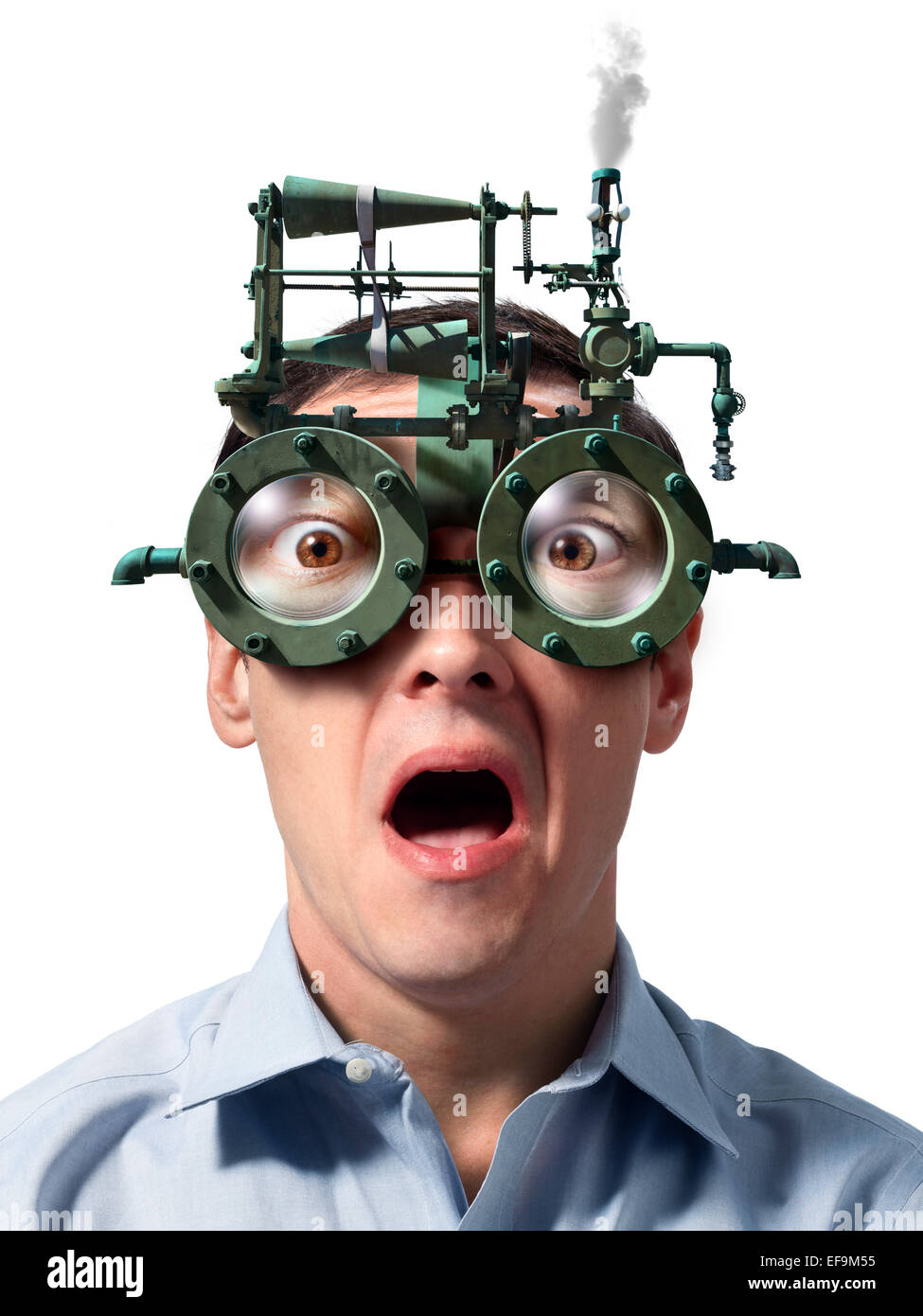 Fantasy image of man wearing steam powered eyeglasses - Stock Image