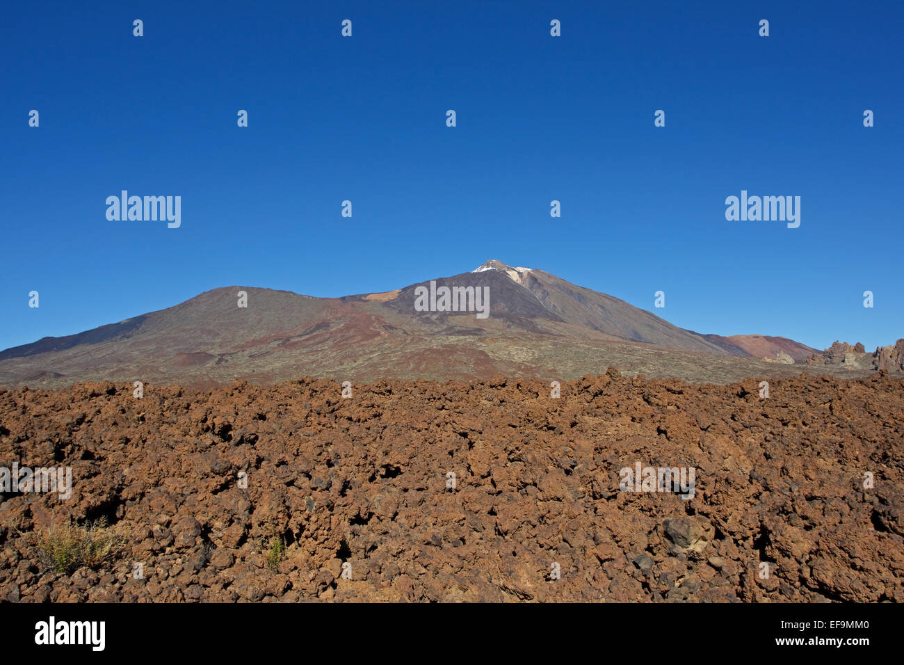 Lava field, Teide and Pico Viejo, Las Cañadas del Teide, Teide National Park, Stock Photo
