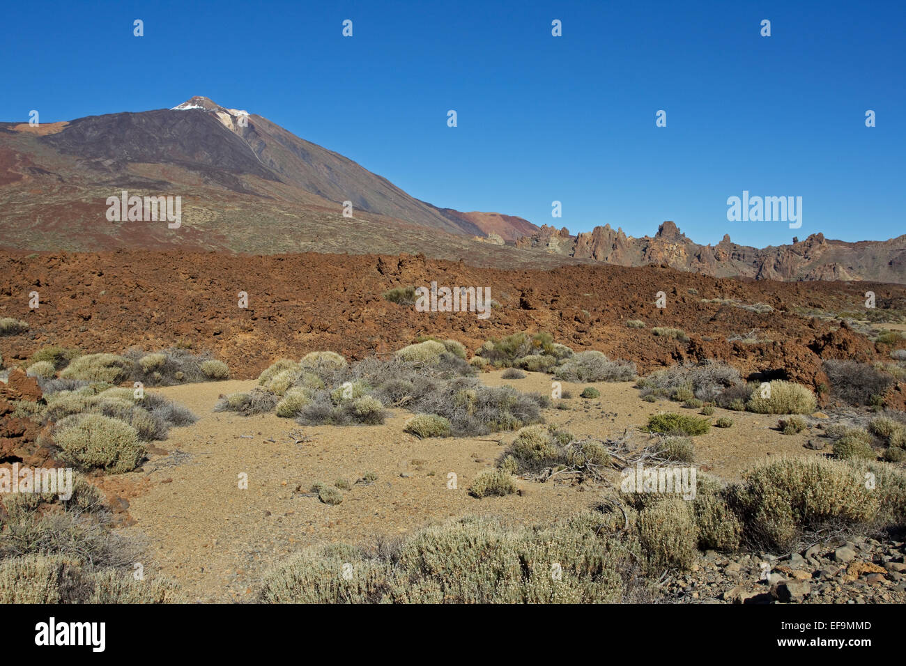 Volcano Teide Los Roques de Garcia, Llano de Ucanca, Las Cañadas del Teide, - Stock Image