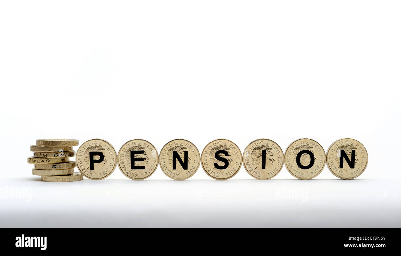ONE POUND COINS SPELLING PENSION RE PENSIONS PENSION SCHEME SAVINGS POT ANNUITY NESTEGG COMPANY PRIVATE INCOME CASH - Stock Image