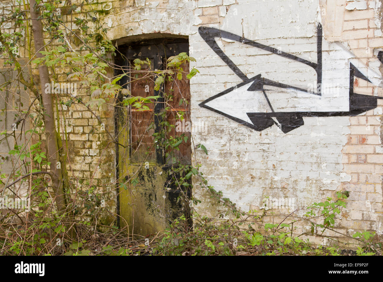 Graffiti Old water Mill East Sussex - Stock Image