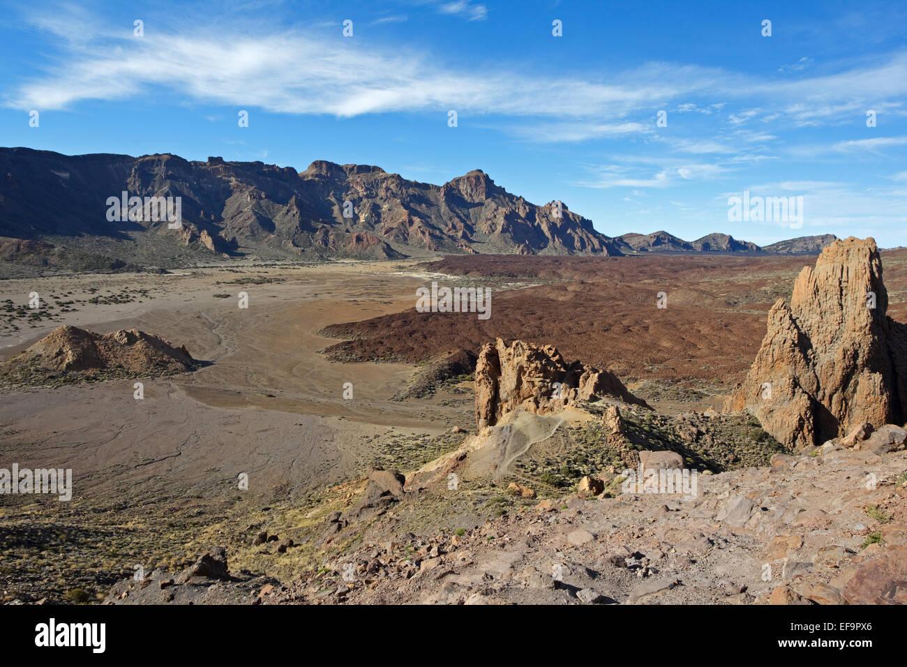 Roques del Almendro, El Sombrerito and Llano de Ucanca, Las Cañadas del Teide,Teide National Park, - Stock Image