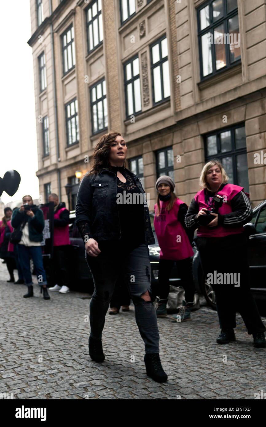 """Copenhagen, Denmark, January 29, 2015: CARMACOMA street-style show at the start of the """"Diversity Patrol"""" parade, - Stock Image"""