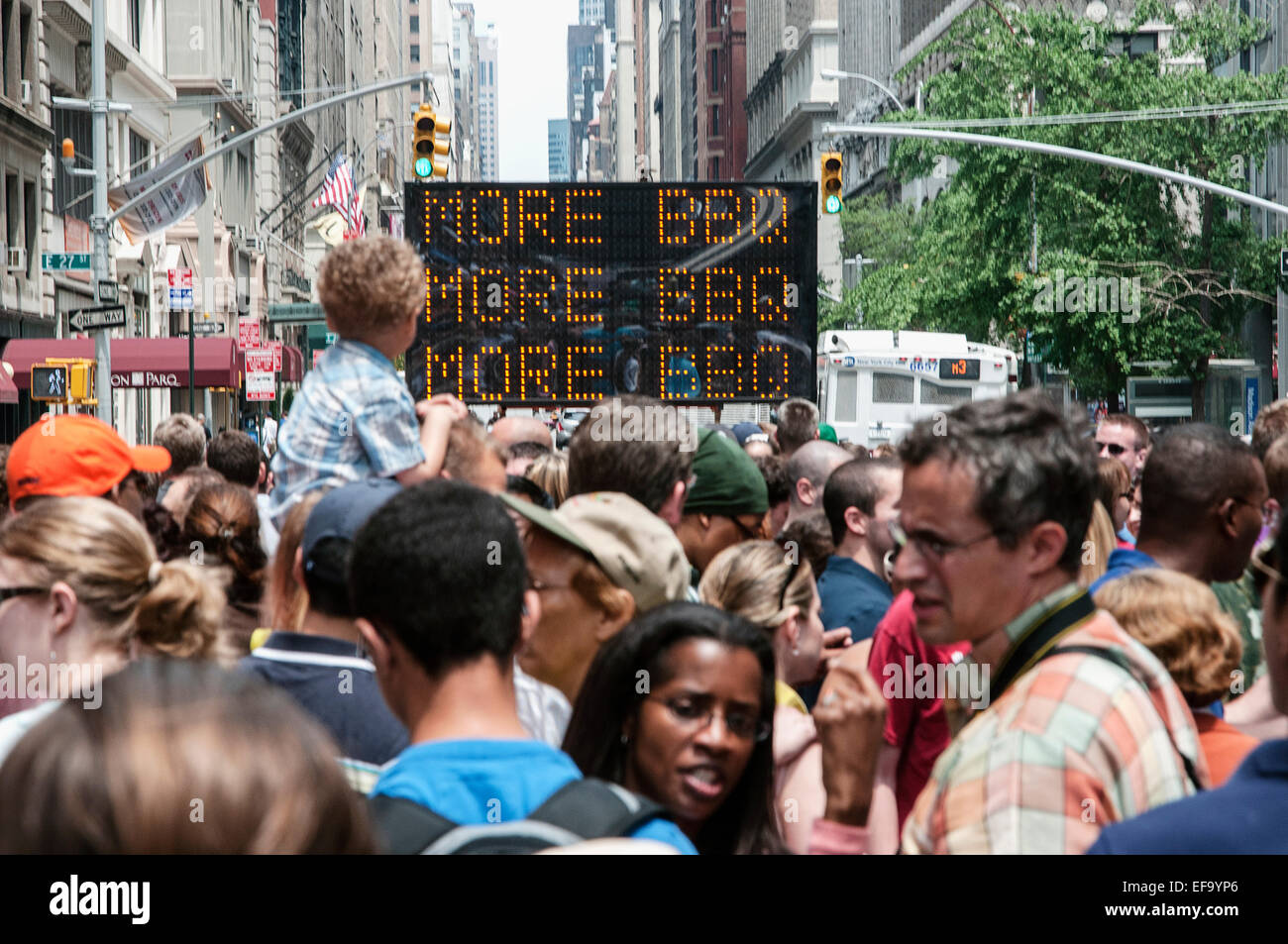 A photograph of the crowds at the Big Apple BBQ held in NYC. - Stock Image