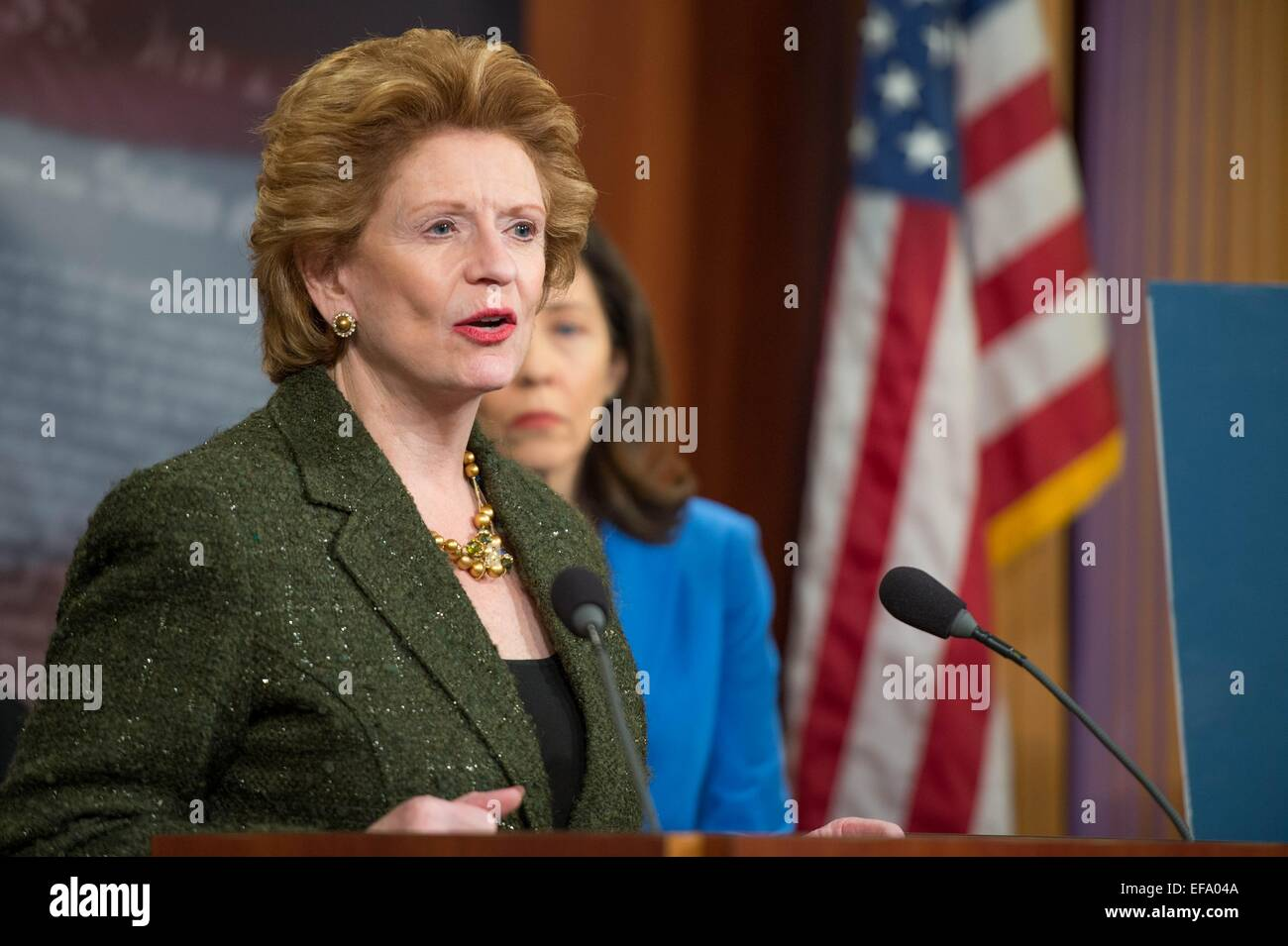 US Senator Debbie Stabenow discuss her opposition to the Keystone Pipeline during a press briefing January 29, 2015 - Stock Image