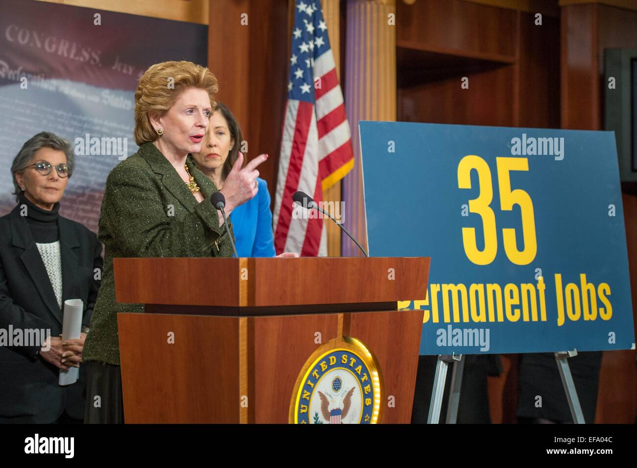 US Senator Debbie Stabenow discusses the Democrats opposition to the Keystone Pipeline during a press briefing January - Stock Image