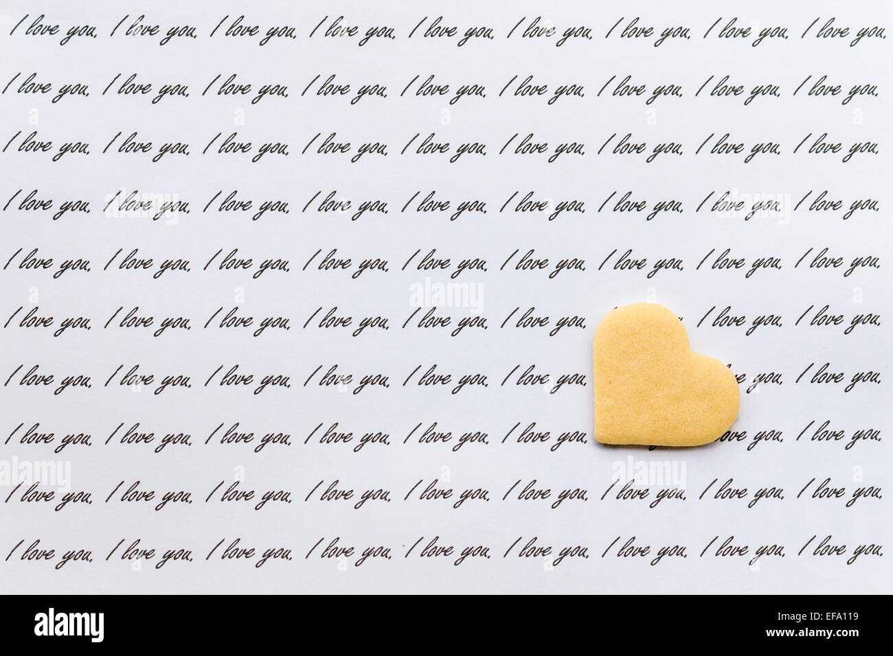 love letter with biscuit heart - Stock Image