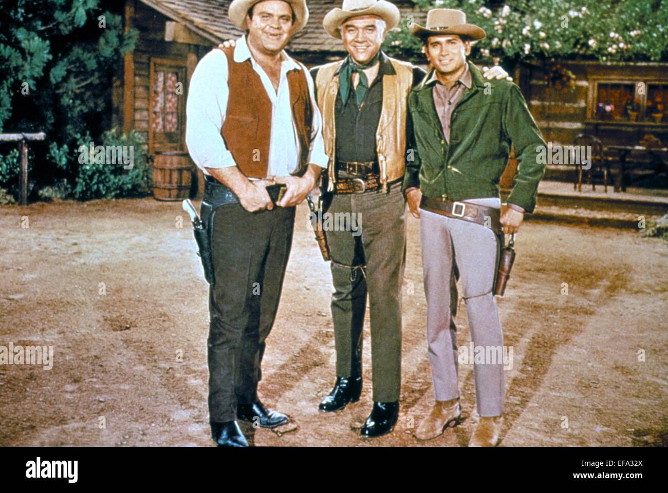 DAN BLOCKER, LORNE GREENE, MICHAEL LANDON, BONANZA, 1959 Stock Photo