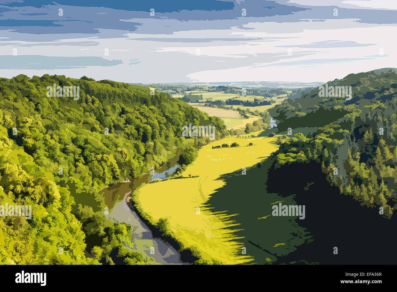 An poster style illustration of the Wye valley from Symonds Yat Rock, Herefordshire, England, UK - Stock Image