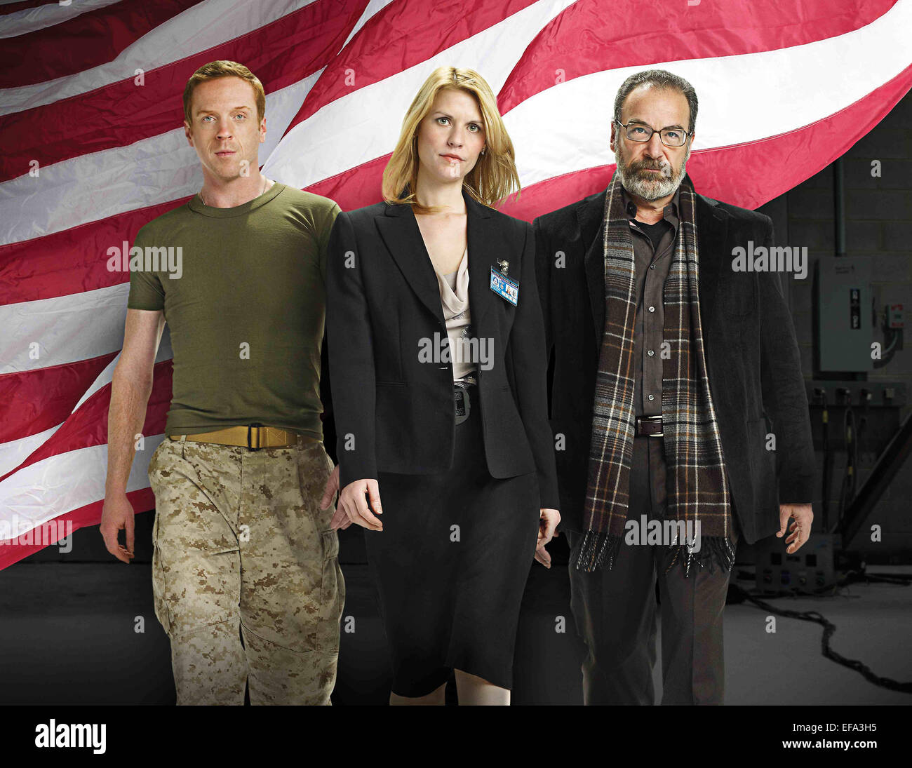 DAMIAN LEWIS CLAIRE DANES & MANDY PATINKIN HOMELAND (2011) - Stock Image