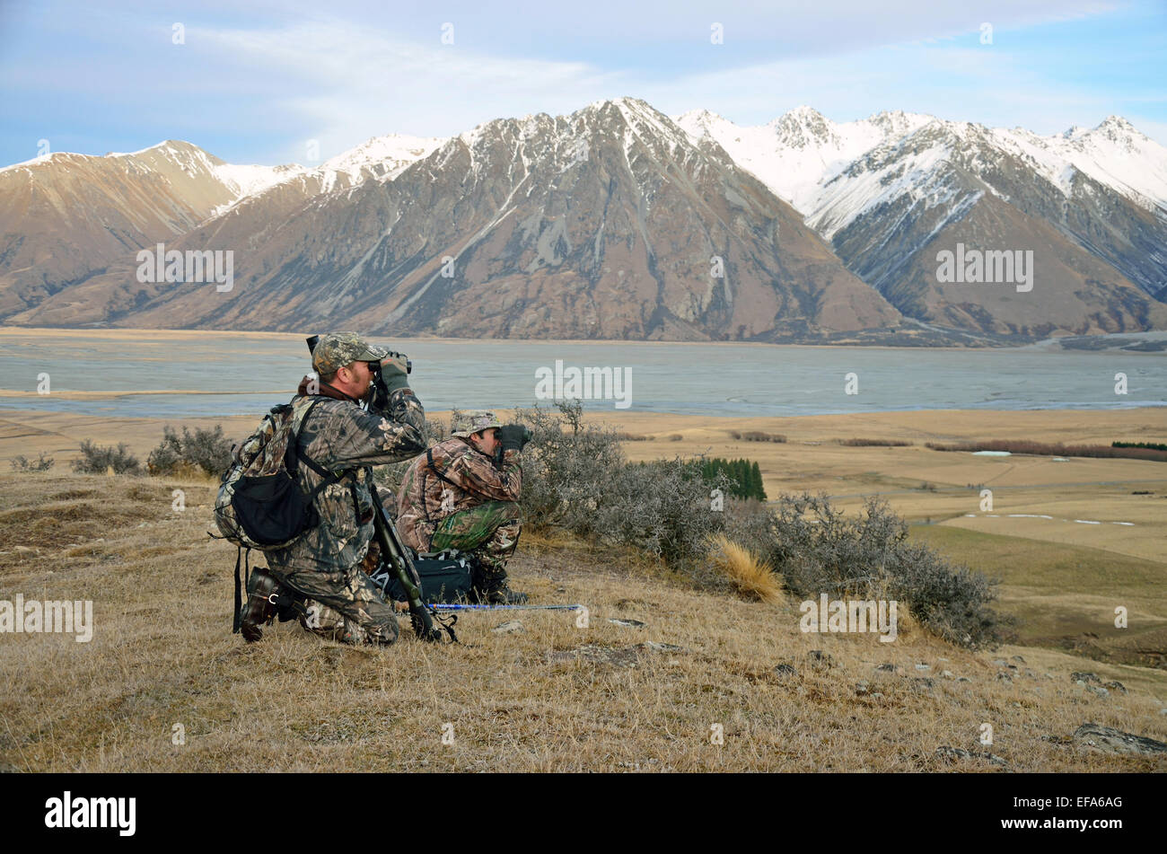 Hunters search for Himalayan tahr in the Southern Alps of New Zealand - Stock Image