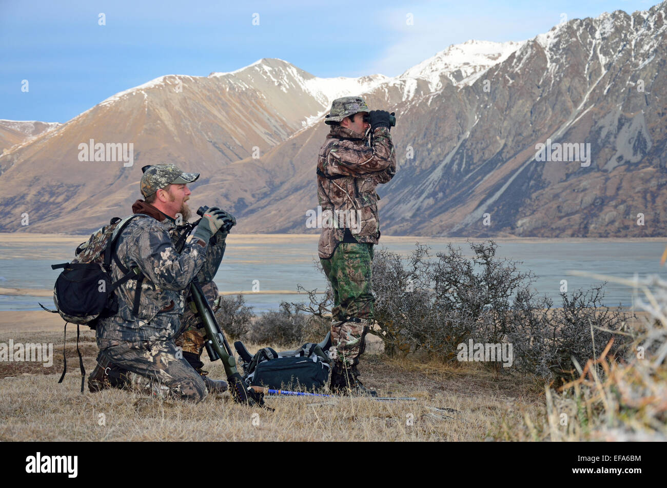 Hunters search for game animals such as red deer, fallow deer, chamois or Himalayan tahr in the Southern Alps of - Stock Image