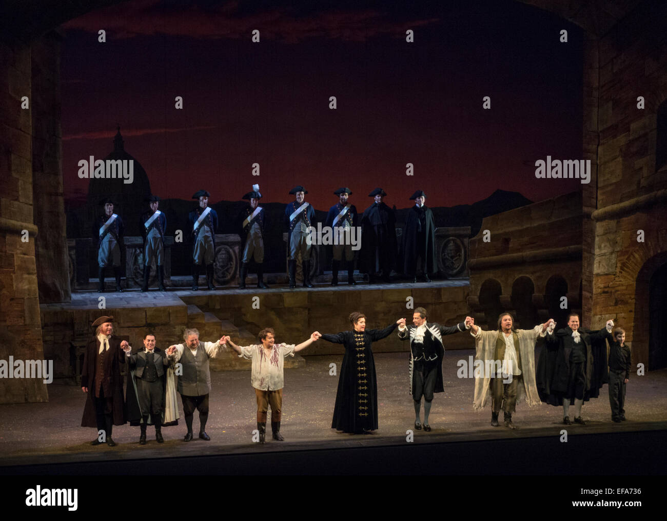 Curtain call, Tosca, Seattle Opera, Marion Oliver McCaw Hall, Seattle, Washington State, USA - Stock Image