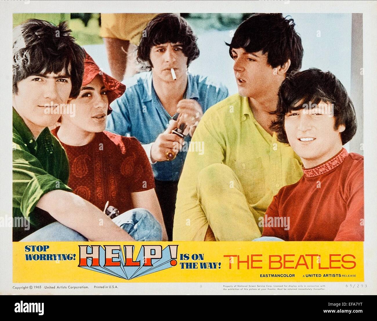 GEORGE HARRISON, ELEANOR BRON, RINGO STARR, PAUL MCCARTNEY, JOHN LENNON, HELP!, 1965 - Stock Image
