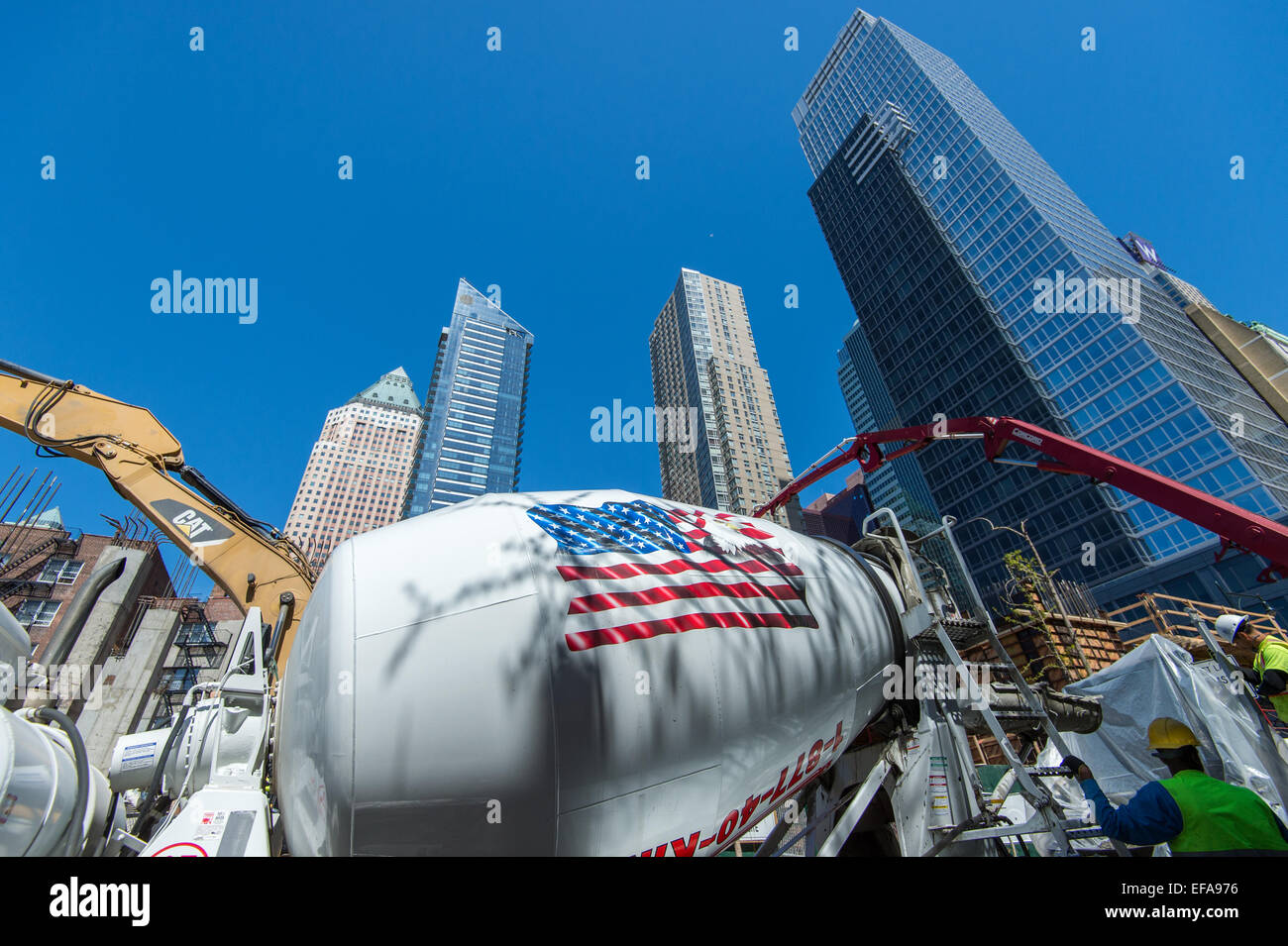 Building America - construction work at Manhattan in New York City, NY, USA - Stock Image