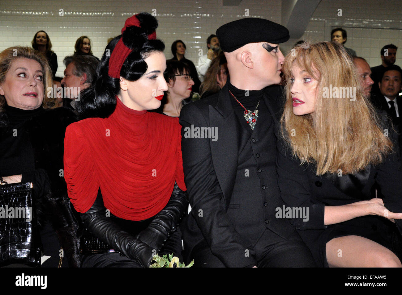 258f37415f2 Catherine Deneuve and Dita Von Teese at the Jean Paul Gaultier Haute Couture  Fashion Show in Paris