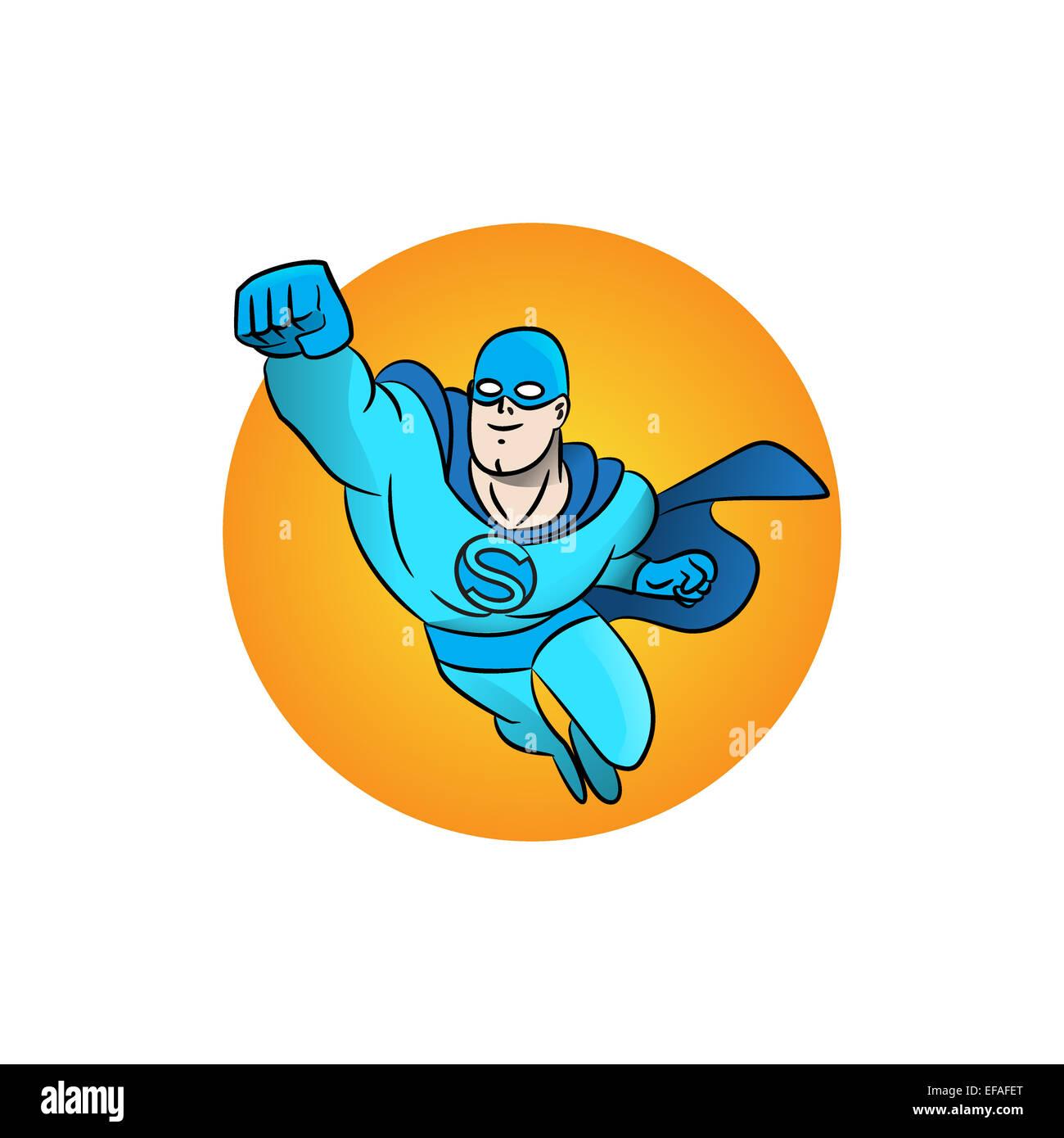 Superhero flying logo. Vector illustration - Stock Image