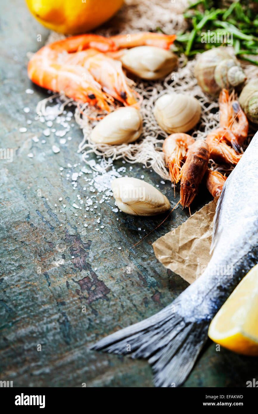 Food background with Seafood and Wine. Lots of copy space - Stock Image