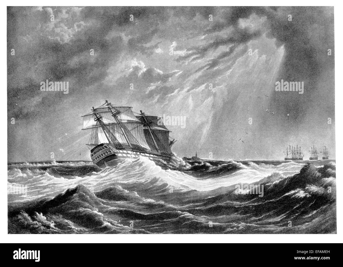 H.M.S. Magnificent 74 Launched 1806 1812 escaped wreck as depicted 1825 became hospital ship in West Indies sold - Stock Image