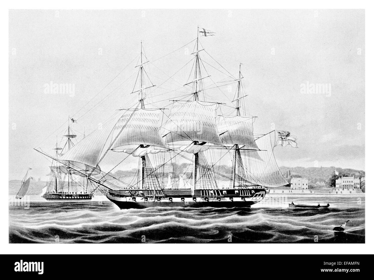 Yacht Falcon 1824 armed as Man of war sold 1836 given paddle wheels sent to Calcutta then used in Opium Trade - Stock Image