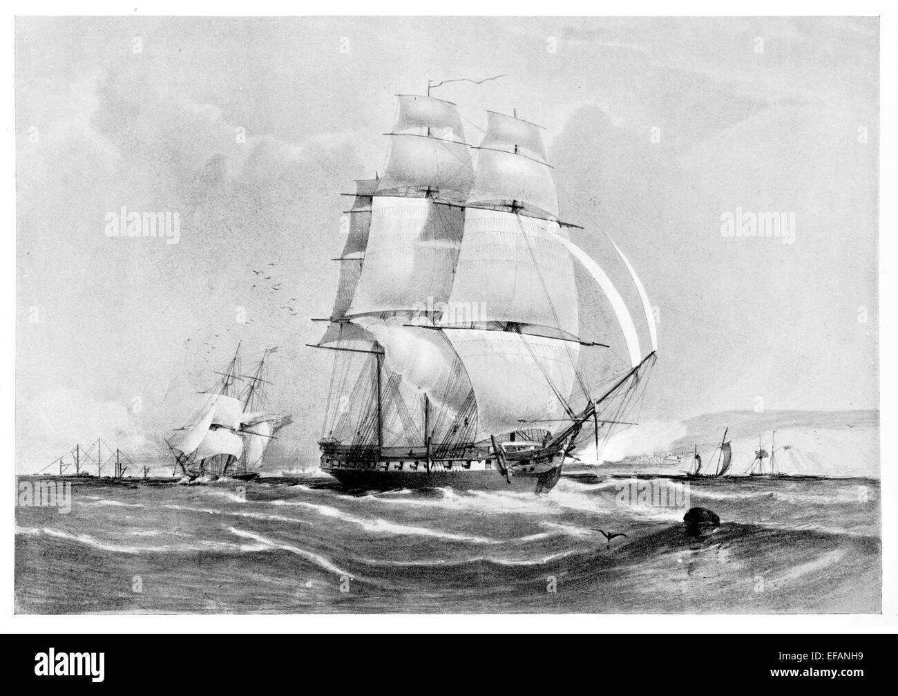 H.M.S. Pique 36 gun A Symondite 1834 Dismasted Acre 1840 1871 Isolation Hospital ship Plymouth sold 1910 - Stock Image