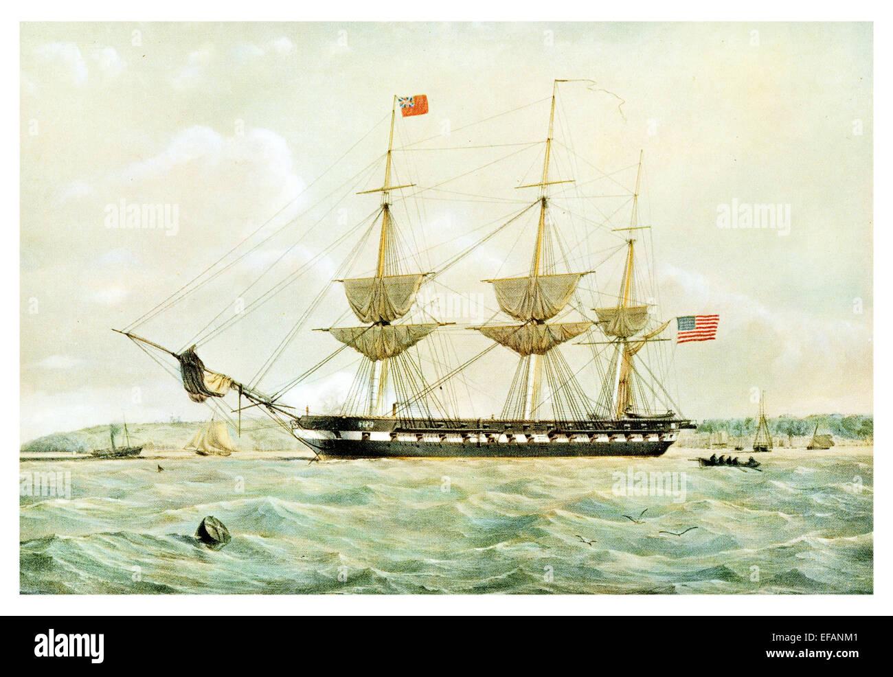 U.S.S. St Lawrence 50 gun 1847 Built Norfolk Navy Yard. Paraguay Expedition 1858.After war Became Marine Barracks - Stock Image