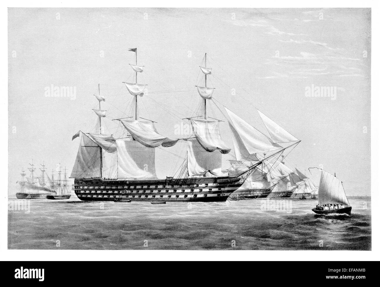 H.M.S. Duke of Wellington 131 gun Launched 1852 as Pembroke. Lord Napier's Flagship in Russian War. Latter Depot - Stock Image