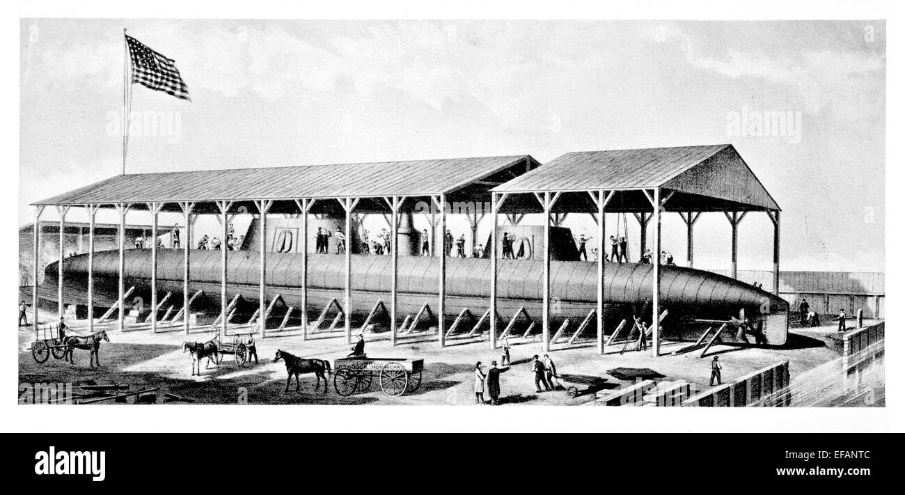 very early submarine under construction late 1800s 19th century Stock Photo
