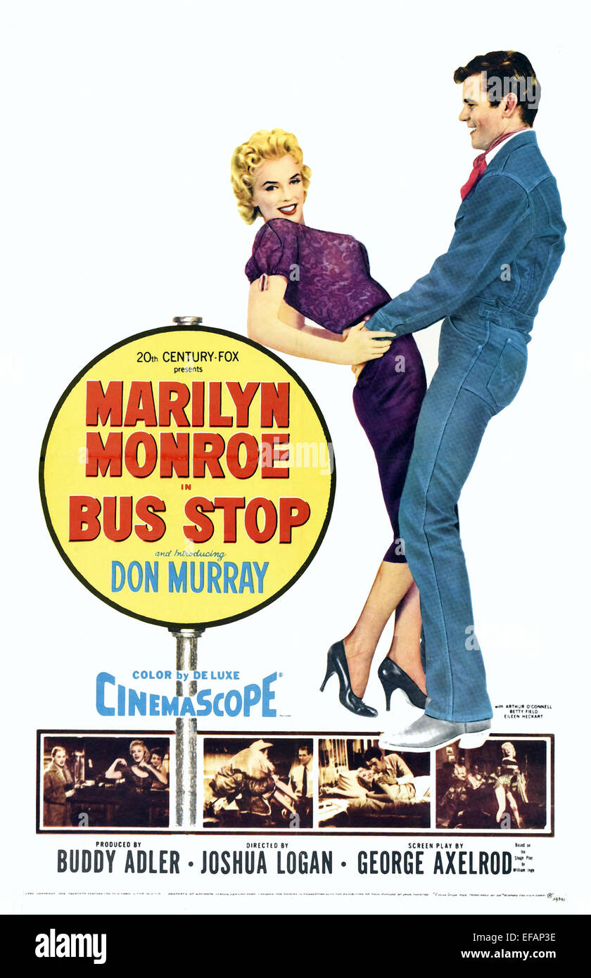 MARILYN MONROE, DON MURRAY POSTER, BUS STOP, 1956 - Stock Image