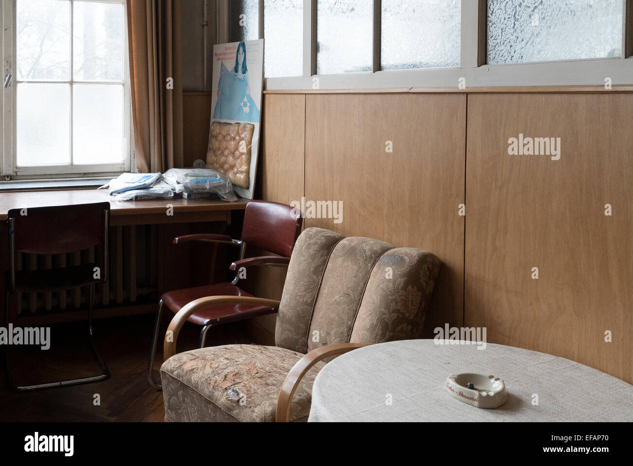 laundry factory museum in Bielefeld: 1950s visitor room , photo: January 25, 2015. - Stock Image