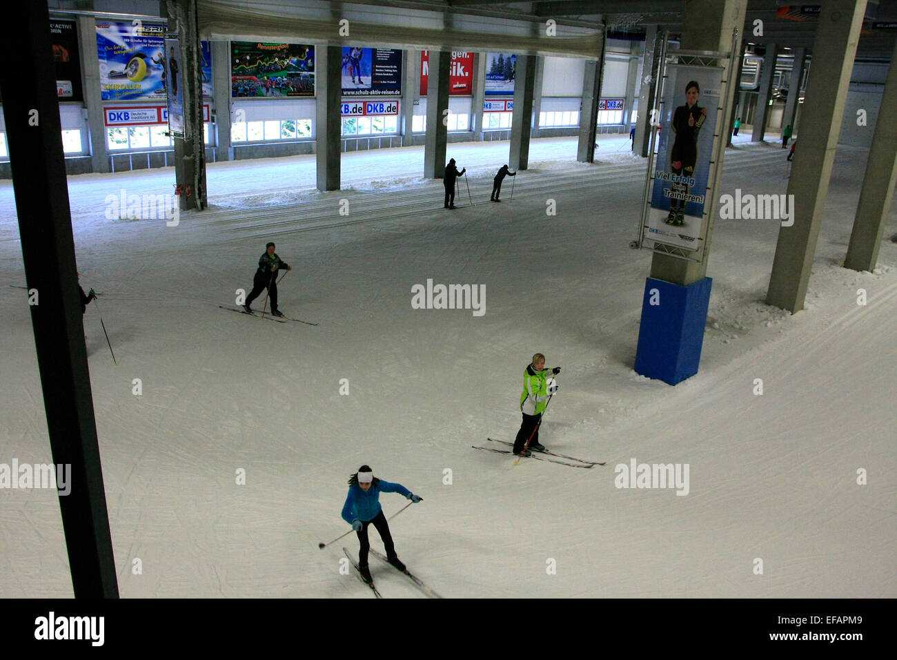 The skiing hall in Oberhof is unique and has been found between the alpine slopes and the Biathlon Stadium place. - Stock Image