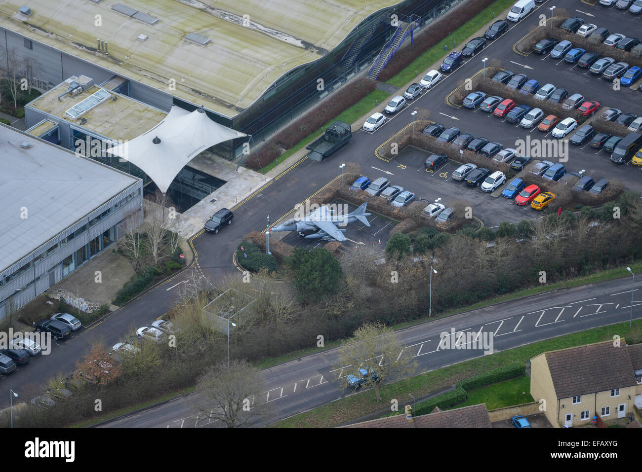 Aerial photograph of building entrance on Malmesbury Industrial Park, Buettell Way - Stock Image