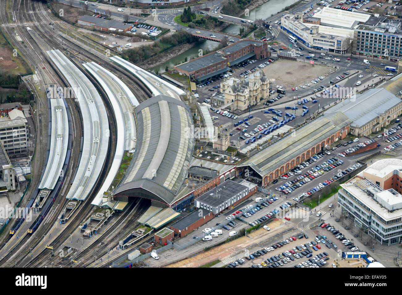 An aerial view of Temple Meads station, the largest railway station in Bristol Stock Photo