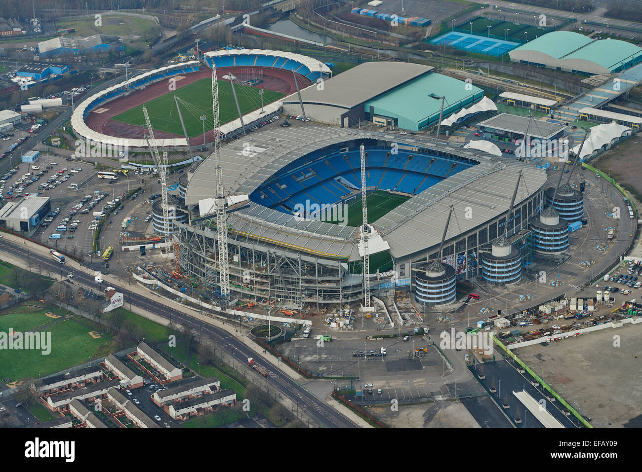 City Of Manchester Stadium: An Aerial View Of The City Of Manchester Stadium, Home Of