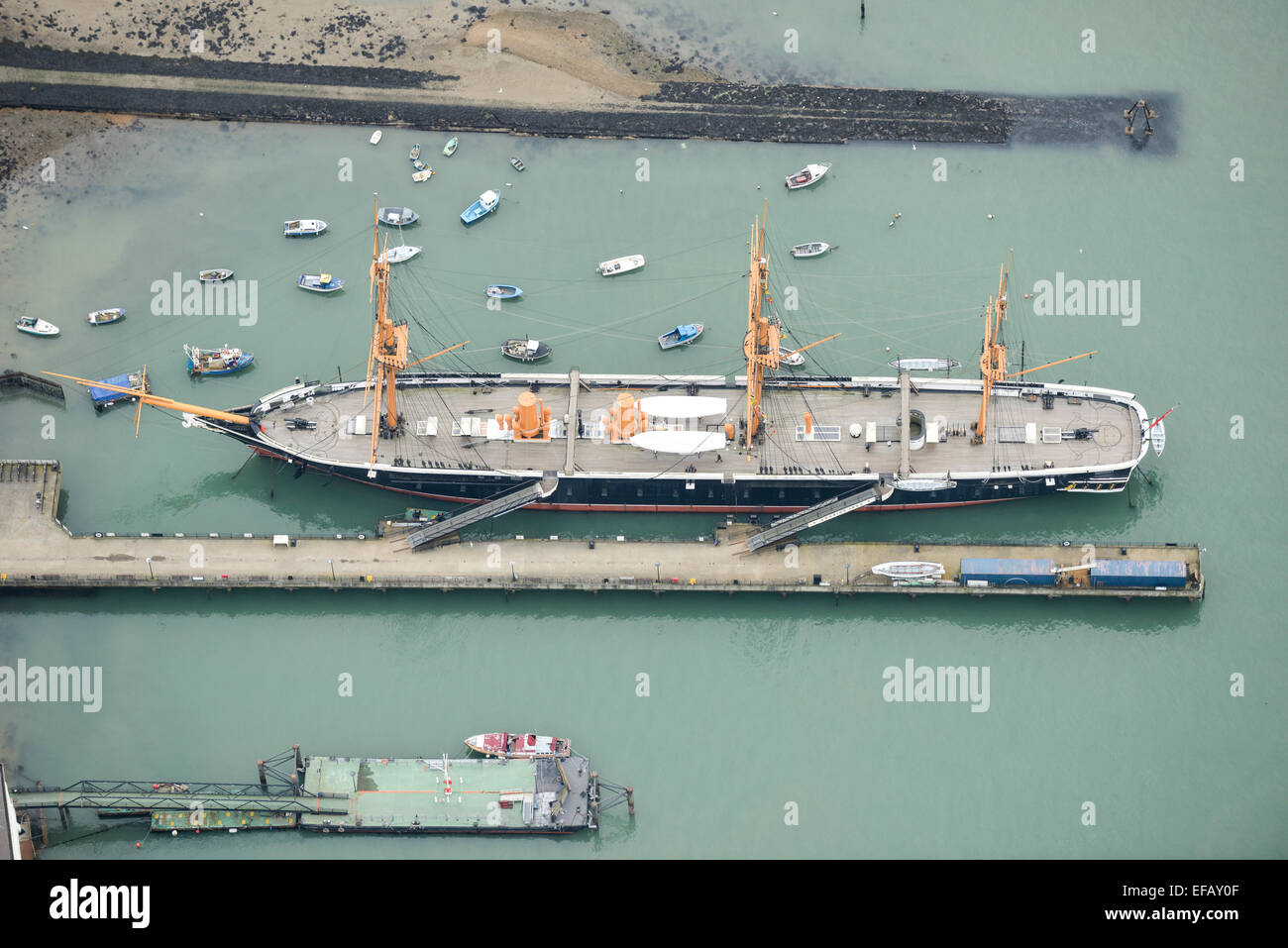 An aerial view of HMS Warrior, the first iron-hulled ship powered by steam and sail - Stock Image